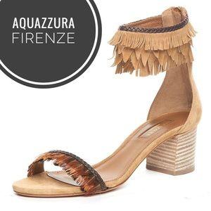 Aquazzura Pocahontas Fringe Feather Stacked Heels